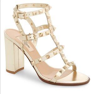 VALENTINO Rockstud Gold Metallic Block Heel Sandal
